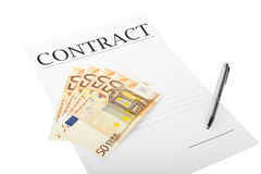 Contract with money Royalty Free Stock Photos