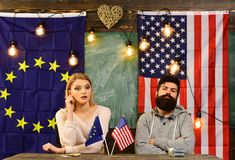 Contract negotiation and business regulation. bearded man and woman politician at conference. foreign policy conflict royalty free stock image