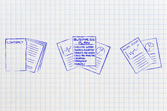 Contract next to business plan and positive income report Stock Photos