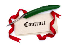 Contract papers and quill pen Royalty Free Stock Photos