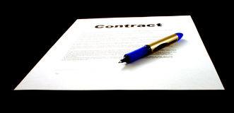 Contract & Pen stock photos