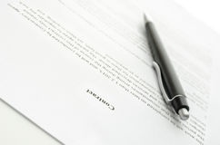 A contract and a pen Royalty Free Stock Photography