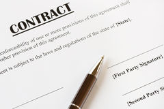 Contract and Pen. Close up of a contract ready to be signed.With pen.Office,legal concept Stock Photography