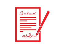 Contract and pen icon. A red contract and pen icon Royalty Free Stock Image