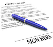 Contract Pen Sign Here Line Legal Agreement Document Signing Nam. Contract and Pen with Sign Here line to illustrate signing a name or signature on a legal Stock Images