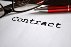 Contract. Placed on the table with glasses and pen Royalty Free Stock Photography