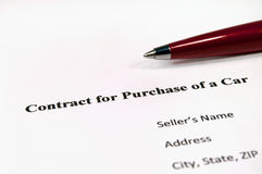 Contract for purchase of a car Royalty Free Stock Photos