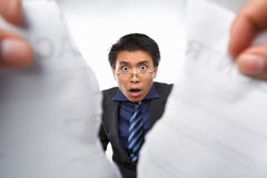 Contract refusal or rejection. With shocked Chinese businesman as main focus Royalty Free Stock Photography