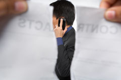 Contract refusal or rejection. While the businessman on the phone Stock Images