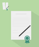 Contract with ribbon illustration Stock Photography