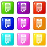 Contract set 9. Contract icons of 9 color set isolated vector illustration Royalty Free Stock Images