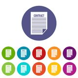 Contract set icons Royalty Free Stock Images