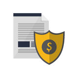 Contract and shield money icon Stock Images