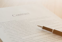 Contract sign. Close up pen on formal paper. contract sign stock image