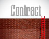 contract sign over brick wall illustration Royalty Free Stock Images