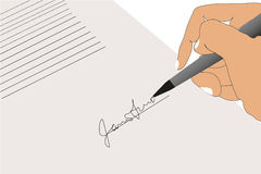 Contract Sign signature hand background Royalty Free Stock Image