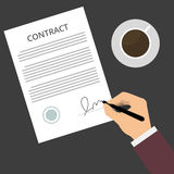 Contract Sign Up. Businessman is signing a contract, business contract details. Flat vector illustration signed paper deal contract icon. Signed contract on the Stock Illustration
