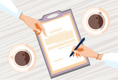 Contract Sign Up Paper Document Business People Agreement Pen Signature. Flat Vector Illustration Stock Photo