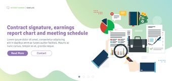 Contract signature, earnings report chart and meeting schedule stock illustration