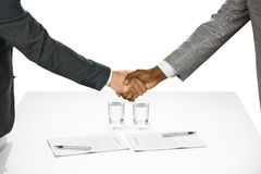 The contract is signed. Businesspeople shake hands. The contract is signed. Welcome to the team. Starting a partnership Stock Photo