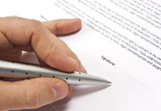 Contract signing hand detail  Stock Images