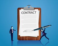 Contract Signing Legal Agreement Concept. Vector Illustration Stock Images