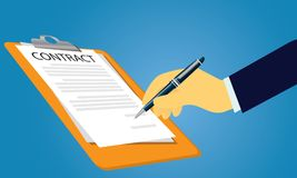 Contract Signing Legal Agreement Concept. Vector Illustration Royalty Free Stock Photo