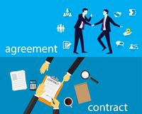 Contract Signing Legal Agreement Concept. Vector Illustration Stock Image