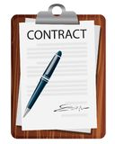 Contract Signing Legal Agreement Concept. Vector Illustration Stock Photos