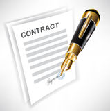 Contract and signing pen. Signing contract with fountain pen icon Stock Photography