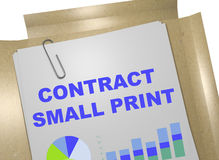 Contract Small Print concept. 3D illustration of CONTRACT SMALL PRINT title on business document Royalty Free Stock Images