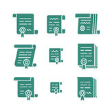 Contract solid icons. Nine different contract solid icons. Vector agreement symbols. Icon set of pact or convention Royalty Free Stock Photography