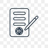 Contract vector icon isolated on transparent background, linear royalty free illustration
