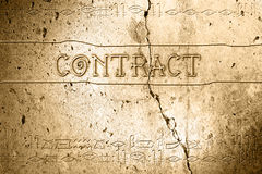 Contract. Word contract on wall with egyptian alphabet made in 2d software Royalty Free Stock Photography