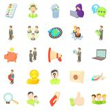 Contract work icons set, cartoon style Royalty Free Stock Photo