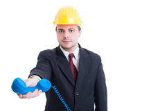 Contractant of bedrijfsleider voor bouwbedrijf die p geven Stock Afbeelding