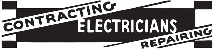 Contracting Electricians. Retro Ad Art Banner stock illustration