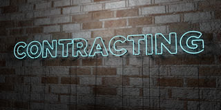 CONTRACTING - Glowing Neon Sign on stonework wall - 3D rendered royalty free stock illustration. Can be used for online banner ads and direct mailers vector illustration