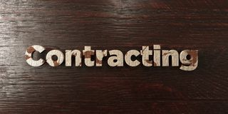 Contracting - grungy wooden headline on Maple - 3D rendered royalty free stock image. This image can be used for an online website banner ad or a print stock illustration