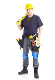 Contractor. Young handsome contractor . Isolated over white background royalty free stock photos