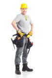 Contractor. Young handsome contractor . Isolated over white background royalty free stock images