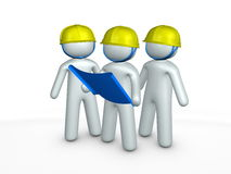 Contractor. 3d generated image, contractors at construction site Stock Photos