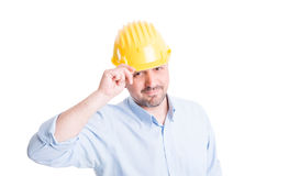 Contractor or architect salute with respect. Successful contractor or architect salute with respect Stock Photography