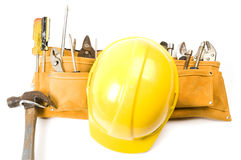 Contractor builder tool belt hard hat Stock Photos