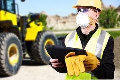 Contractor and Bulldozer Stock Photography