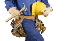 Contractor carpenter man with tools isolated on white Royalty Free Stock Photo