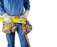 Contractor carpenter repair man and tool belt isolated white Royalty Free Stock Images