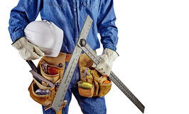 Contractor carpenter repair man with tool belt isolated white Royalty Free Stock Photography