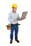 Contractor & Computer Full Body Stock Photos