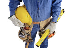Contractor construction carpenter man with tools on white Stock Photos